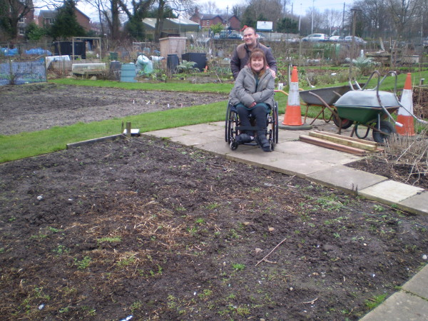 Picture of Brian and Kate at their allotment plot